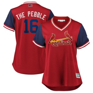 """Kolten Wong St. Louis Cardinals Women's Replica """"THE PEBBLE"""" /Navy 2018 Players' Weekend Cool Base Majestic Jersey - Red"""